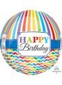 Balão Metalizado 3D Orbz Aniversário Listras – 1 unidade