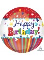 Balão Metalizado 3D Orbz Aniversário Flocos Coloridos – 1 unidade