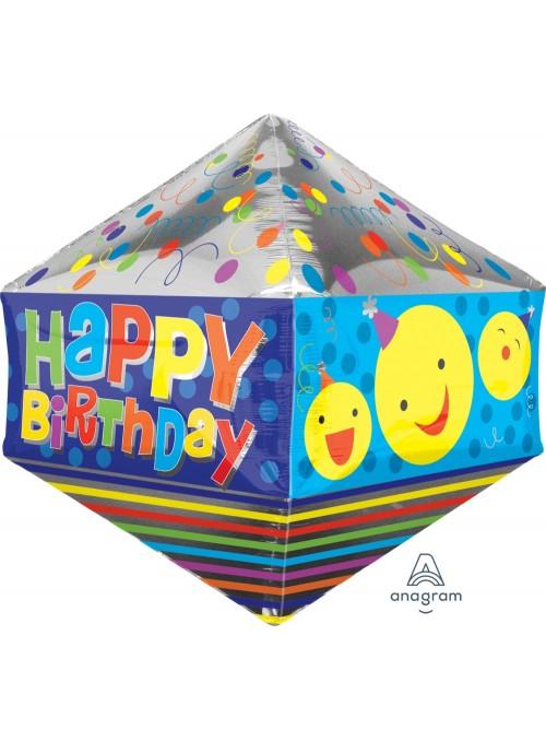 Balão Metalizado 3D Anglez Aniversário Carinhas – 1 unidade