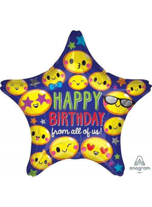 Balão Metalizado Estrela Aniversário Carinhas – 1 unidade