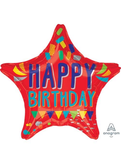 Balão Metalizado Estrela Aniversário Bandeirinhas – 1 unidade