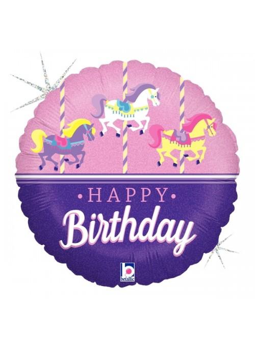 Balão Metalizado Aniversário Cavalo Carrossel – 1 unidade