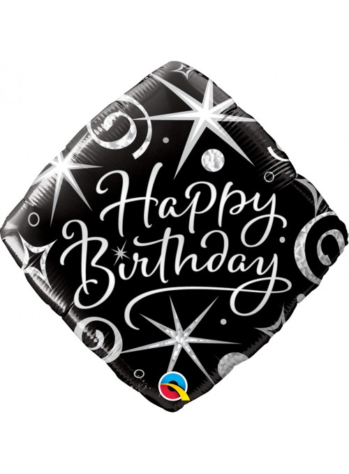 Balão Metalizado Aniversário Faíscas – 1 unidade