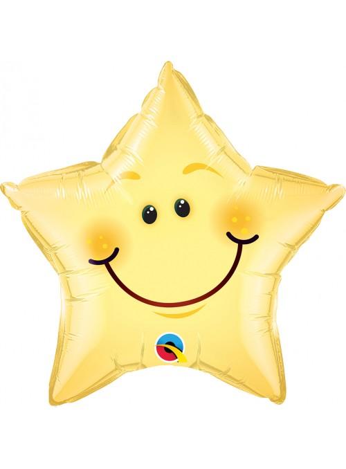 Balão Metalizado Estrela Carinha Sorridente – 1 unidade