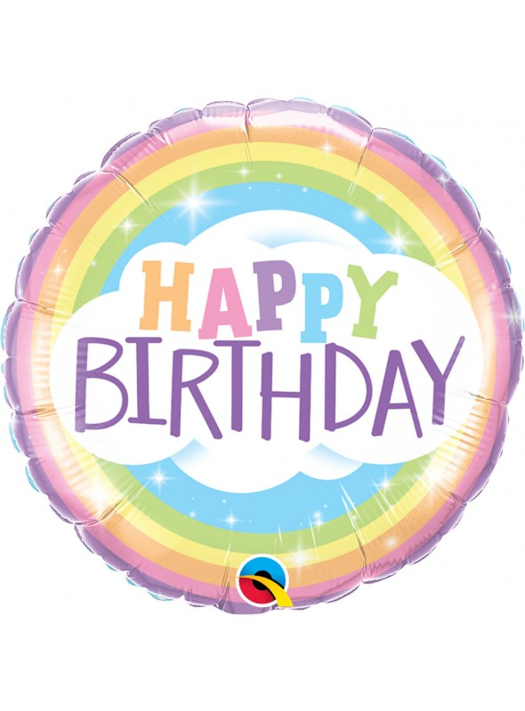 Balão Metalizado Aniversário Arco Íris – 1 unidade
