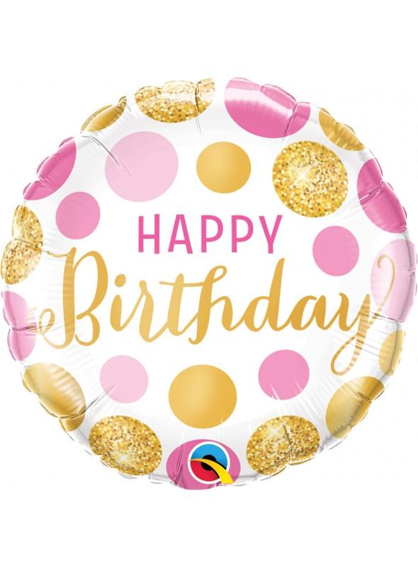Balão Metalizado Feliz Aniversário Rosa e Dourado – 1 unidade