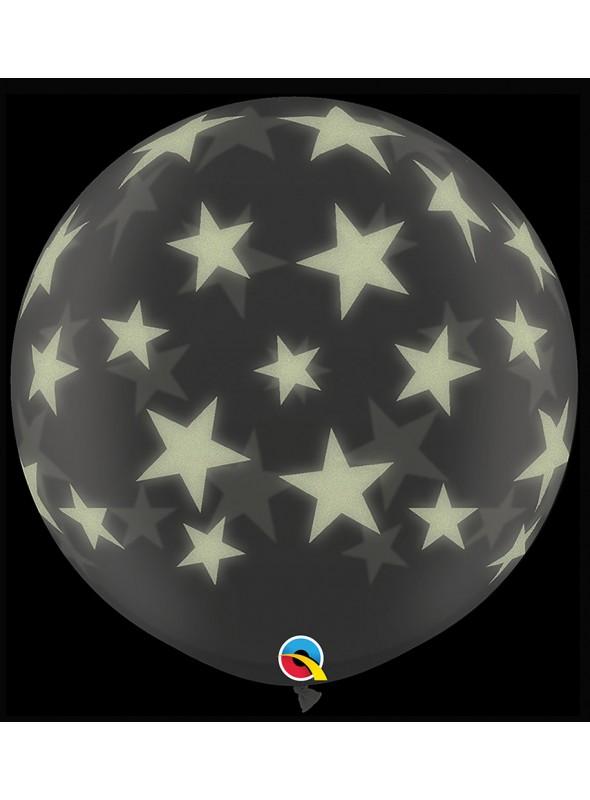 Balão de Látex Gigante Estrelas que Brilham no Escuro – 1 unidade