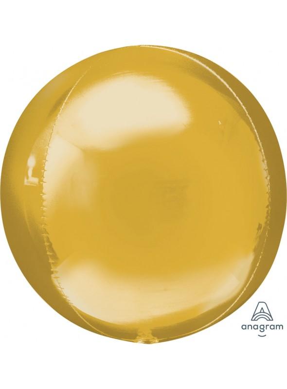 Balão Metalizado 3D Orbz Dourado – 1 unidade
