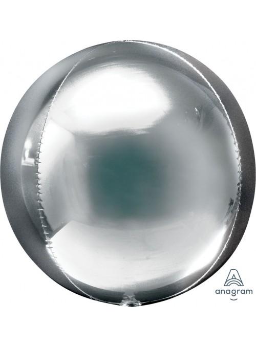 Balão Metalizado 3D Orbz Prata – 1 unidade