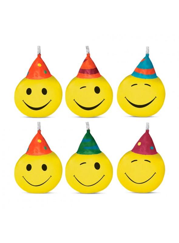 Velas de Bolo Aniversário Carinhas Emojis Sorridentes - 6 unidades