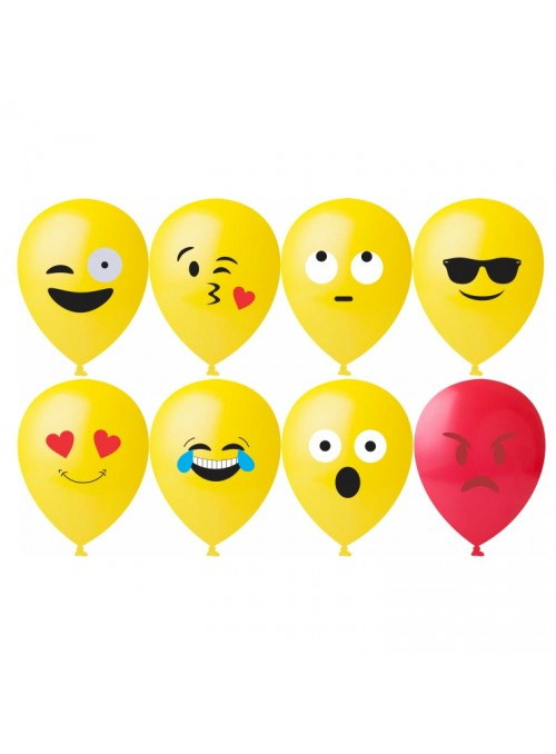 Balões de Látex Emojis Carinhas Sortidos – 25 unidades