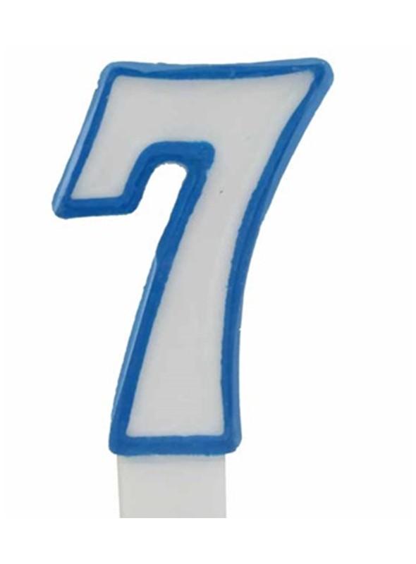 Vela de Bolo Aniversário Número 7 Branco com Azul – 1 unidade