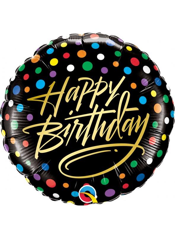 Balão Metalizado Aniversário Preto Bolinhas Coloridas – 1 unidade