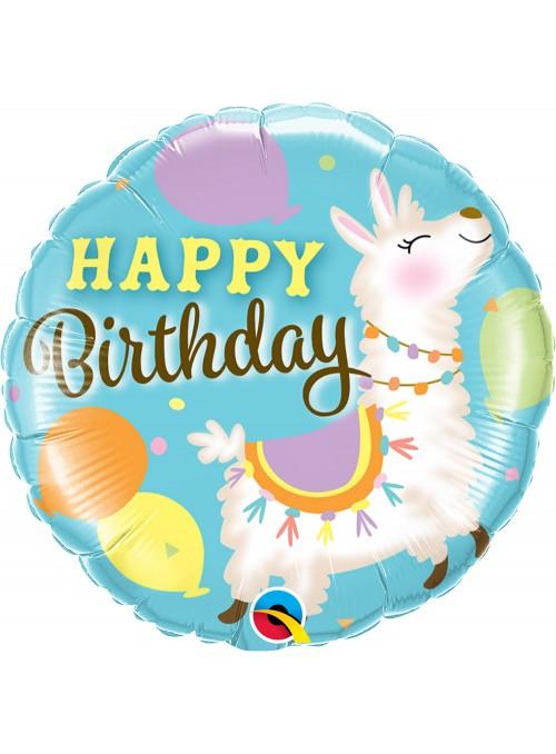 Balão Metalizado Aniversário Animal Lhama – 1 unidade