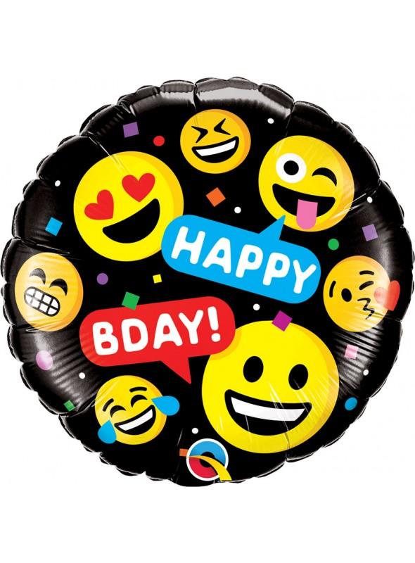 Balão Metalizado Aniversário Emojis Carinhas – 1 unidade