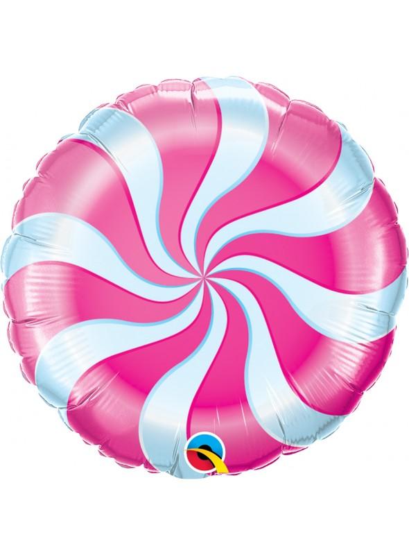 Balão Metalizado Bala Pirulito Rosa – 1 unidade