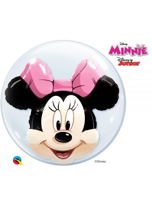 Balão Bubble Duplo Transparente Minnie Rosa – 1 unidade