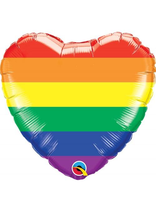 Balão Metalizado Coração Listras Arco Iris – 1 unidade