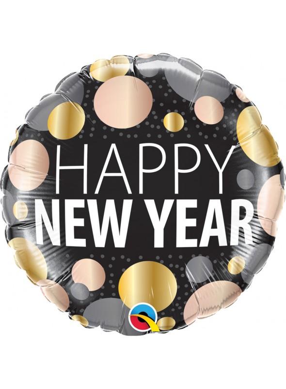 Balão Metalizado Feliz Ano Novo Bolinhas – 1 unidade
