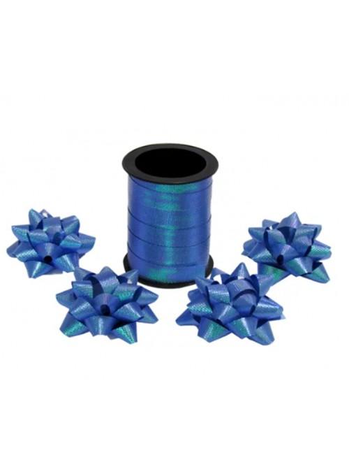 Fitilho Decorativo Azul Escuro Brilhante com 4 Laços
