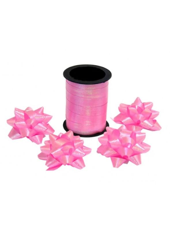 Fitilho Decorativo Rosa Claro Brilhante com 4 Laços