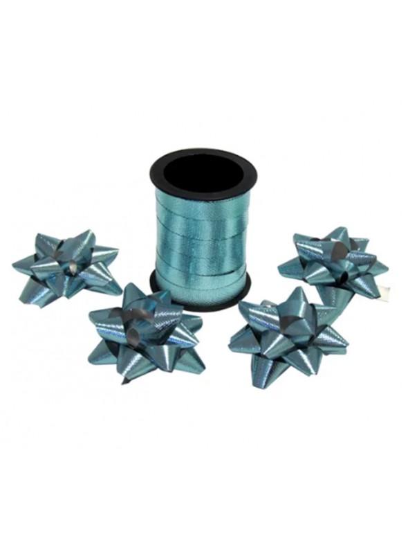 Fitilho Decorativo Azul Turquesa Brilhante com 4 Laços