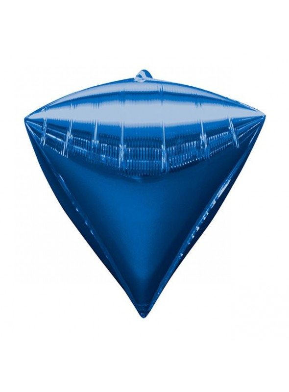 Balão Metalizado 4D Diamante Azul – 1 unidade