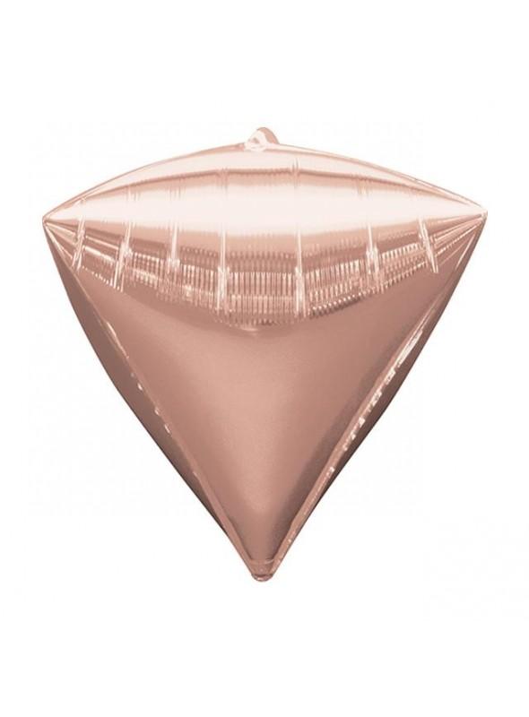 Balão Metalizado 4D Diamante Rose Gold – 1 unidade