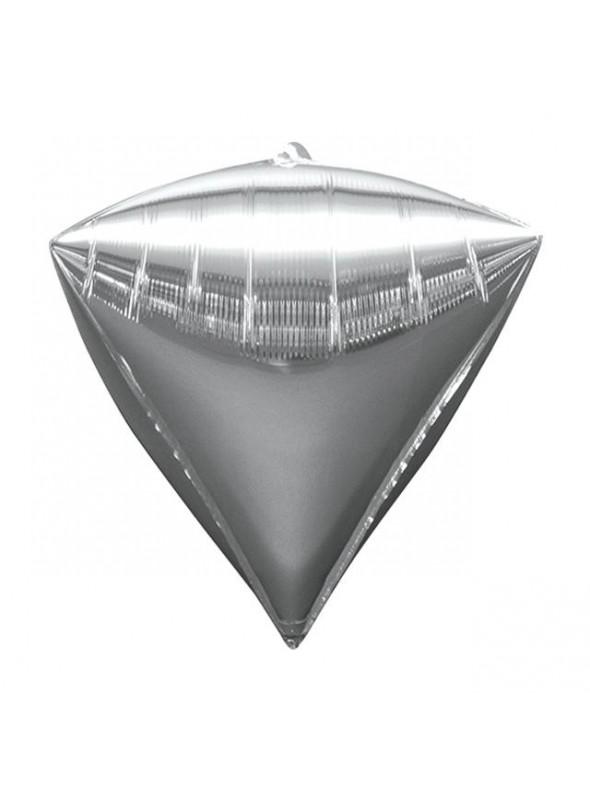 Balão Metalizado 4D Diamante Prata – 1 unidade