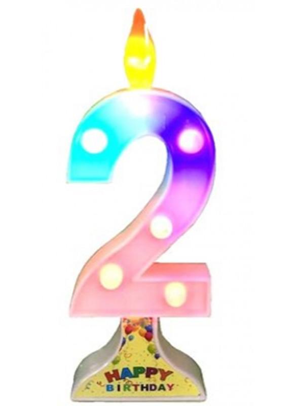 Vela de Aniversário de Led Grande Número 2 – 1 unidade