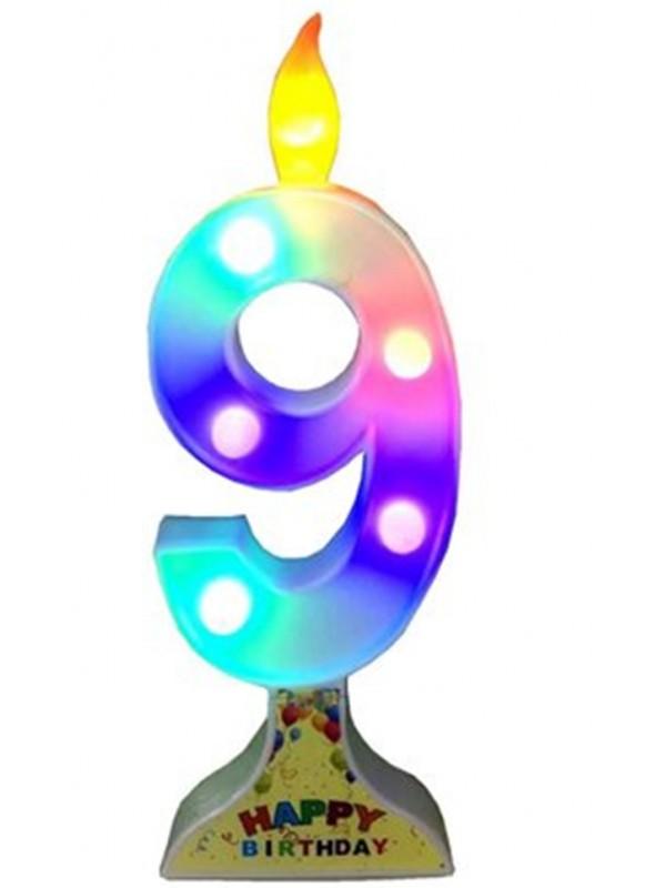 Vela de Aniversário de Led Grande Número 9 – 1 unidade