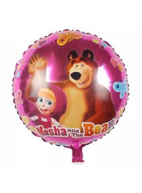 Balão Metalizado Redondo Masha e Urso – 1 unidade