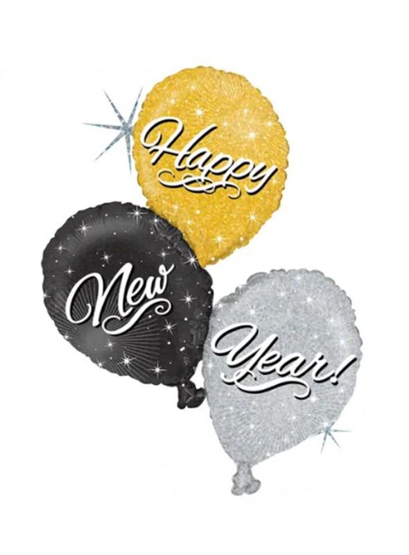 Balão Metalizado Holográfico Feliz Ano Novo – 1 unidade