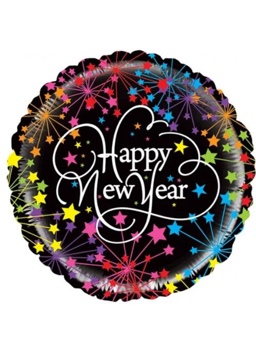Balão Metalizado Feliz Ano Novo Fogos – 1 unidade