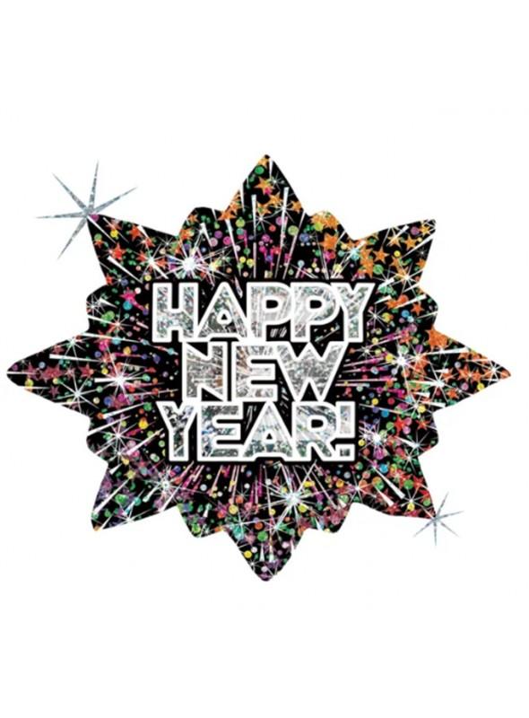 Balão Metalizado Feliz Ano Novo Colorido – 1 unidade