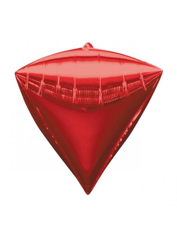 Balão Metalizado 4D Diamante Vermelho – 1 unidade