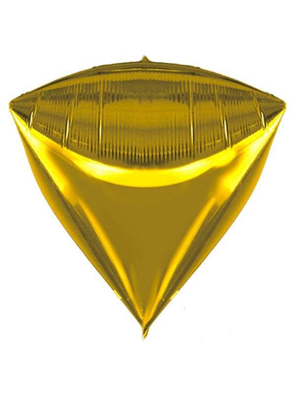 Balão Metalizado 4D Diamante Dourado – 1 unidade