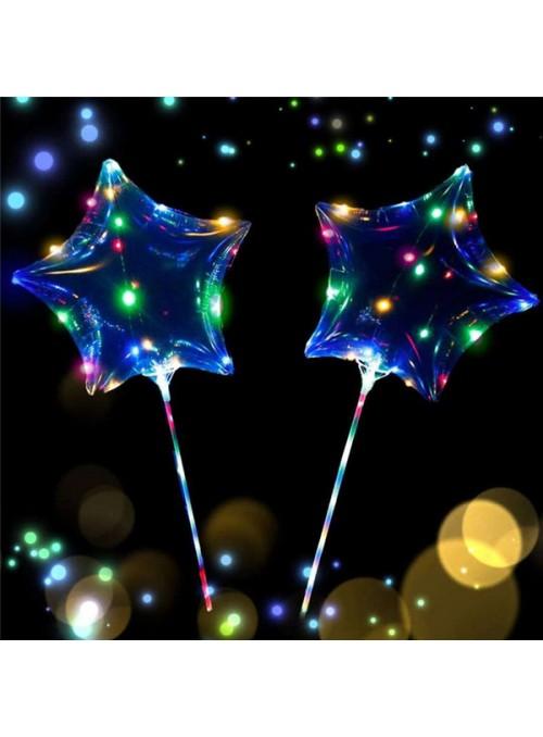 Balão Bubble Transparente Estrela com Led na Vareta – 1 unidade