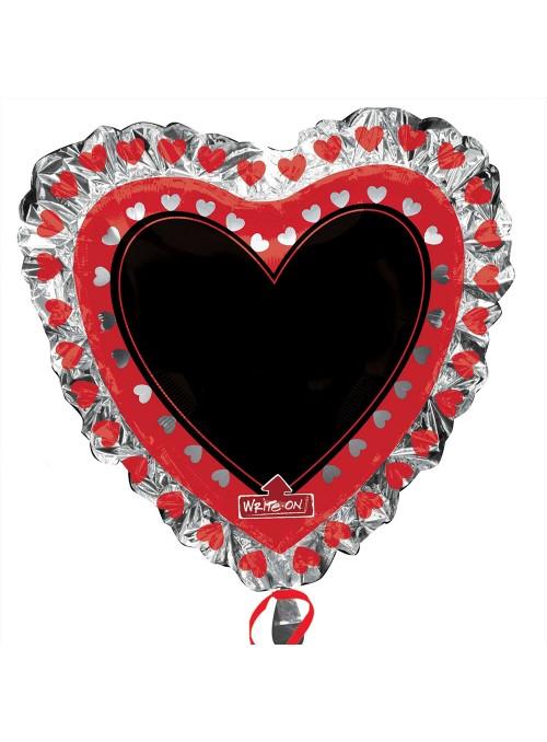 Balão Metalizado Coração Lousa – 1 unidade