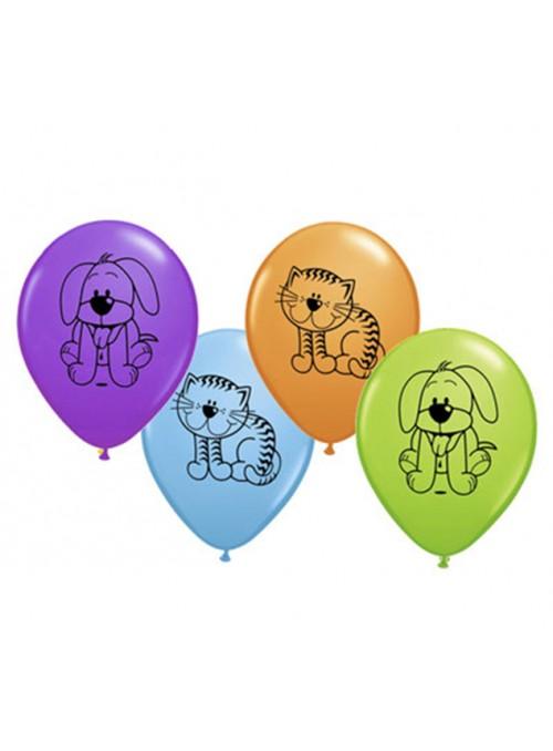 Balões de Látex Animais Cachorros e Gatos – 10 unidades