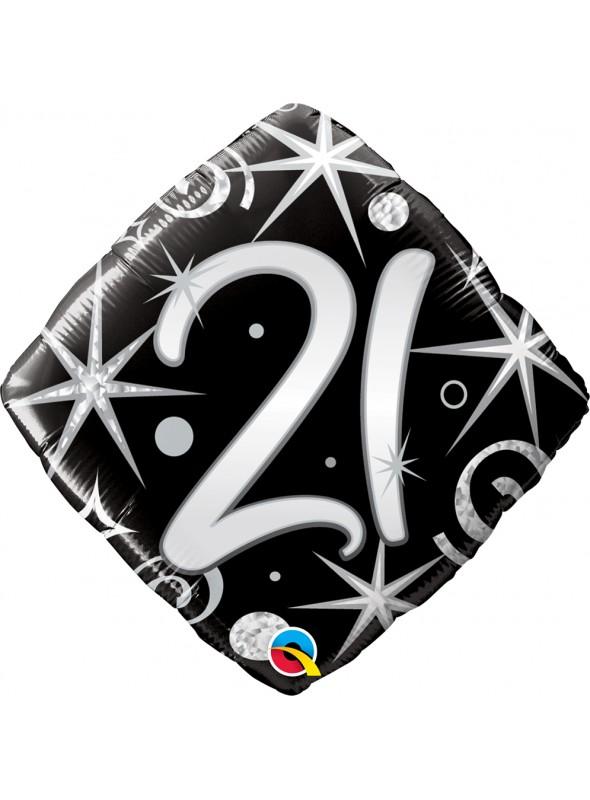 Balão Metalizado Aniversário 21 Anos Faíscas – 1 unidade