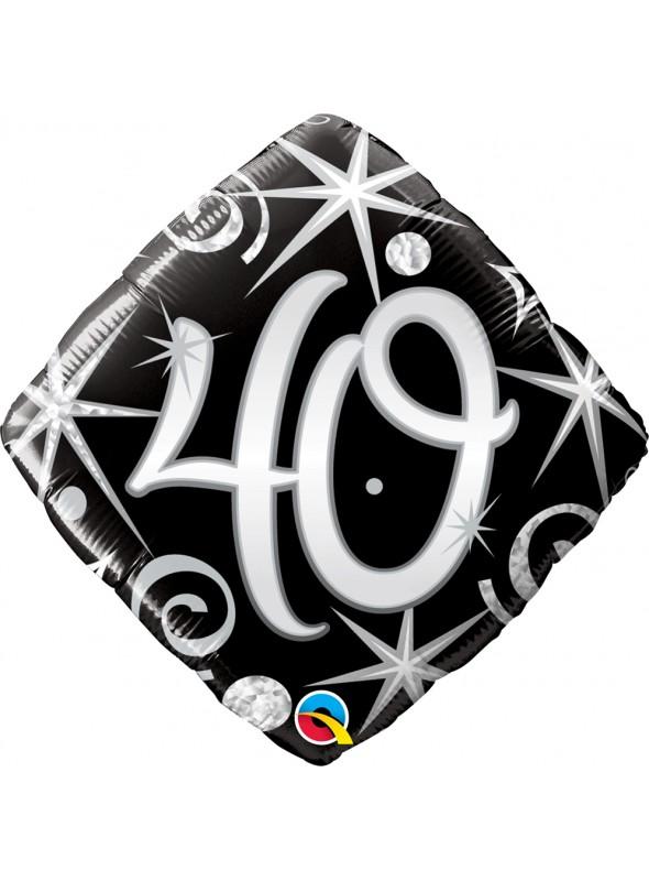 Balão Metalizado Aniversário 40 Anos Faíscas – 1 unidade