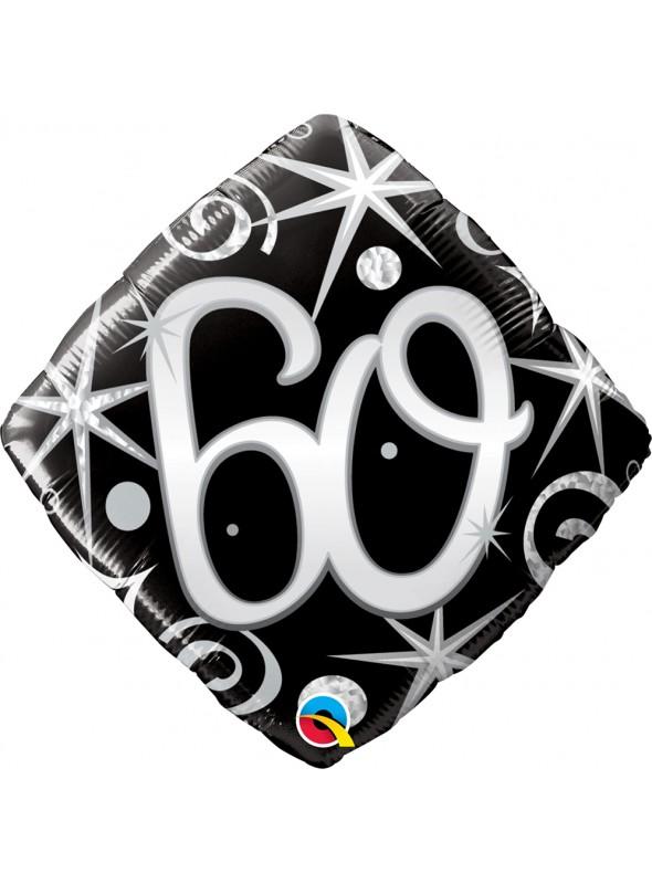 Balão Metalizado Aniversário 60 Anos Faíscas – 1 unidade