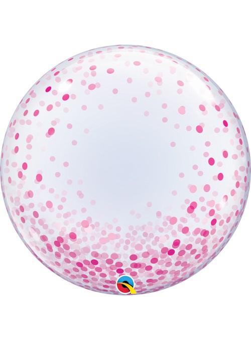 Balão Bubble Transparente Confetes Rosa – 1 unidade