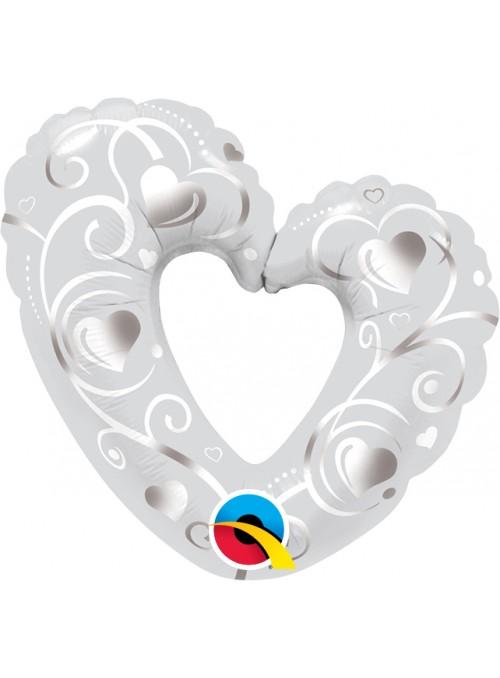 Balão Metalizado Coração Prata Tamanho P – 1 unidade