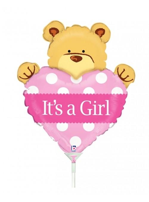 Balão Metalizado Maternidade Urso Menina Tamanho P – 1 unidade