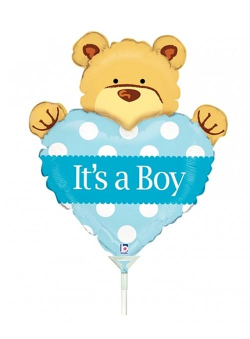 Balão Metalizado Maternidade Urso Menino Tamanho P – 1 unidade