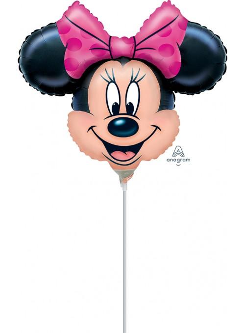 Balão Metalizado Cabeça Minnie Rosa Tamanho P – 1 unidade