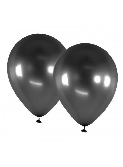 Balões de Látex Alumínio Preto 9 Polegadas – 25 unidades