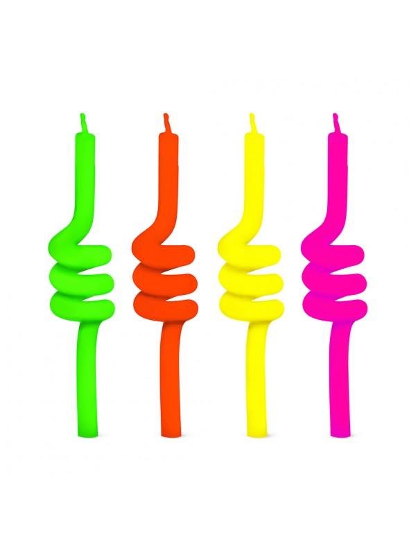 Velas de Bolo Aniversário Tubo Colorida – 4 unidades